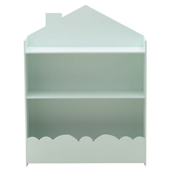 Стенна етажерка за детска стая като къща Cloud - синя - изглед отпред