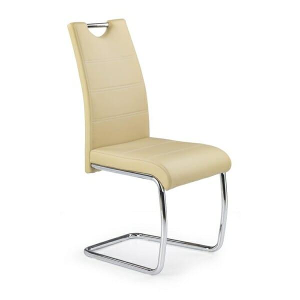 Трапезен стол от екокожа с нестандартна основа (4 цвята) - бежов