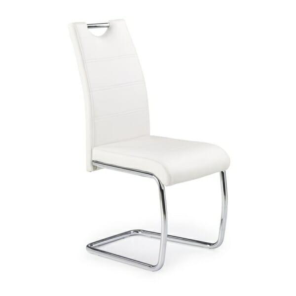 Трапезен стол от екокожа с нестандартна основа (4 цвята) - бял