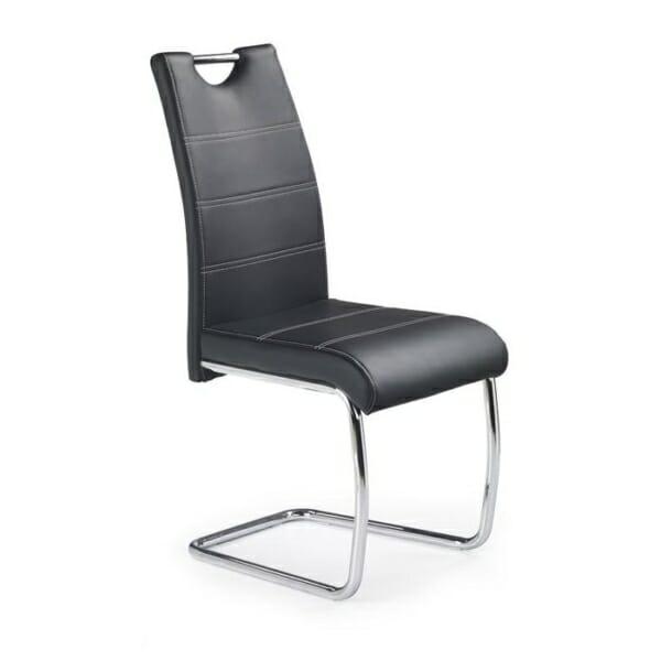 Трапезен стол от екокожа с нестандартна основа (4 цвята) - черен