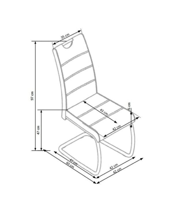 Трапезен стол от екокожа с нестандартна основа (4 цвята) - схема