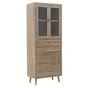 Висок дървен шкаф с декорация и стъклена витрина Verona