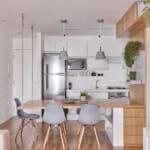 Кухня с барплот като трапезна маса в светли тонове