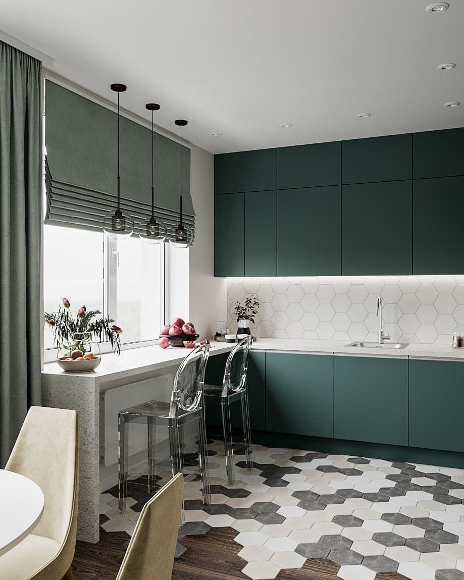 Модерна кухня в сиво с барплот до прозореца