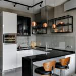 Стилна кухня с барплот в модерен стил