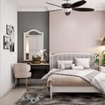 Кокетна спалня в розови и сиви тонове