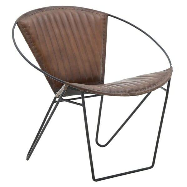 Кресло от кожа с метална основа в индустриален стил - кафяв цвят