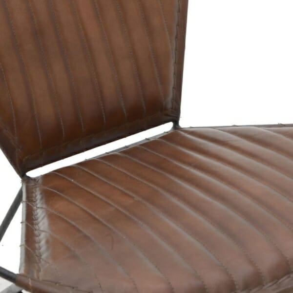 Кресло от кожа с метална основа в индустриален стил - кафяв цвят - детайл