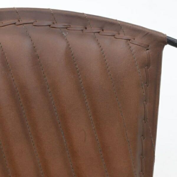 Кресло от кожа с метална основа в индустриален стил - кафяв цвят - детайл облегалка