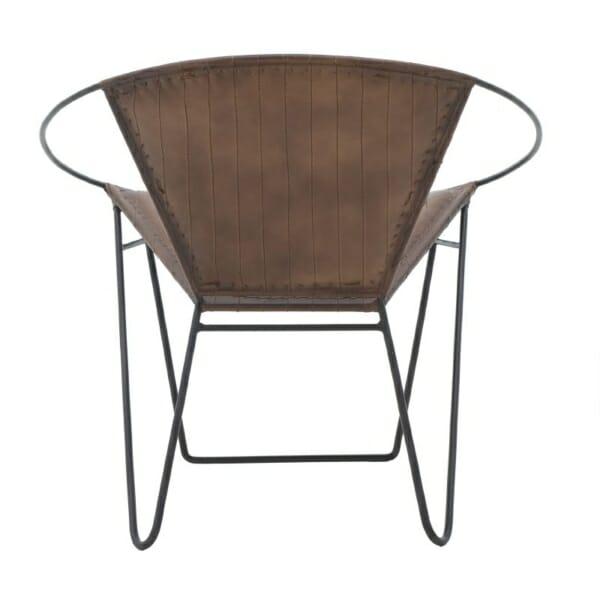 Кресло от кожа с метална основа в индустриален стил - кафяв цвят - изглед отзад