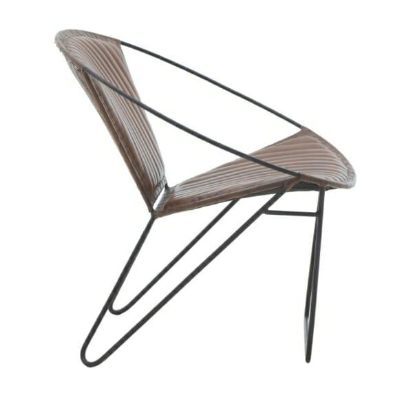 Кресло от кожа с метална основа в индустриален стил - кафяв цвят - отстрани