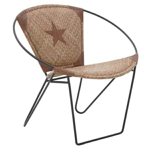 Кресло от кожа с метална основа в индустриален стил - кафяво-бежов цвят