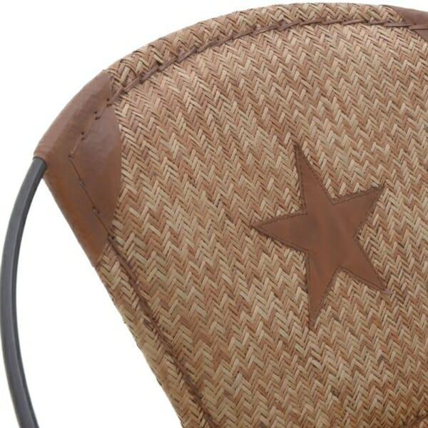 Кресло от кожа с метална основа в индустриален стил - кафяво-бежов цвят - детайл