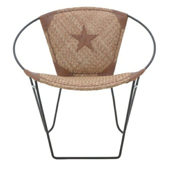 Кресло от кожа с метална основа в индустриален стил - кафяво-бежов цвят - изглед отпред