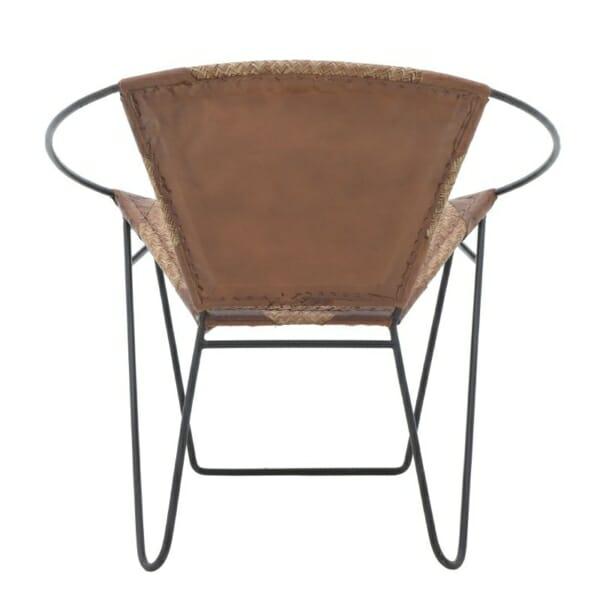 Кресло от кожа с метална основа в индустриален стил - кафяво-бежов цвят - изглед отзад