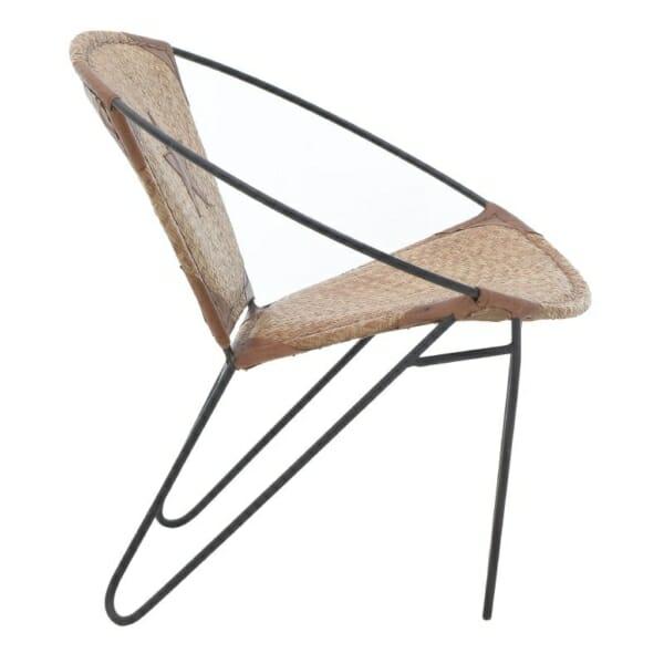 Кресло от кожа с метална основа в индустриален стил - кафяво-бежов цвят - отстрани