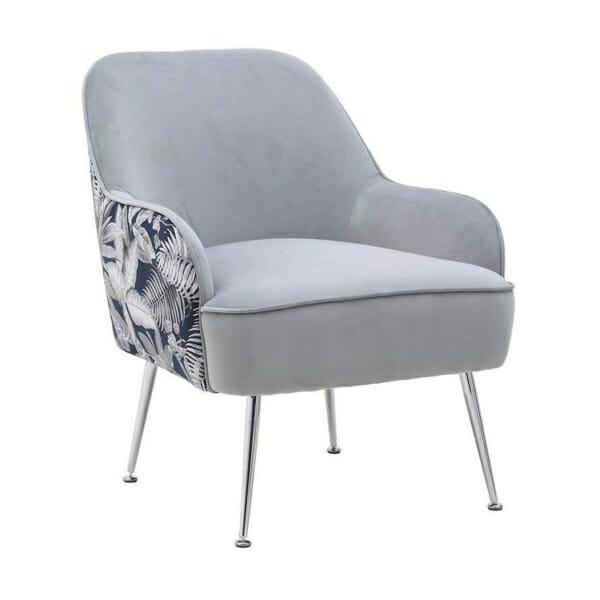 Кресло с плюшена дамаска, пъстър гръб и метални крачета (2 цвята) - сив
