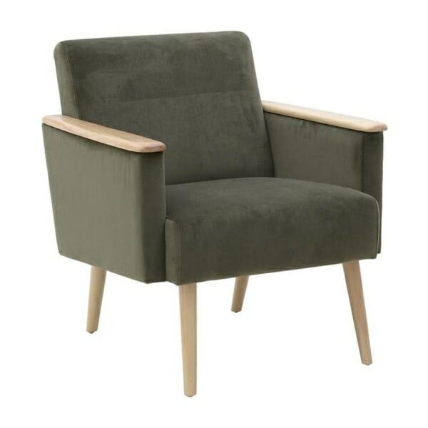 Кресло в зелено с дървени подлакътници
