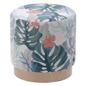 Кръгла текстилна табуретка с флорални елементи - вариант 3
