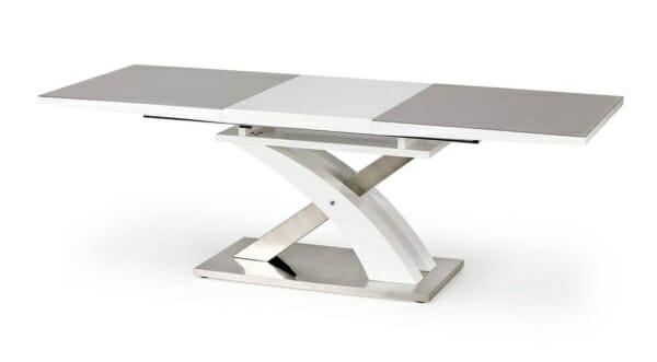 Модерна трапезна маса в сиво и бяло с функция разтягане - разтегната