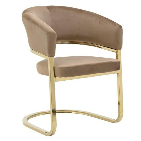 Модерно плюшено кресло със златиста основа - кафяв цвят