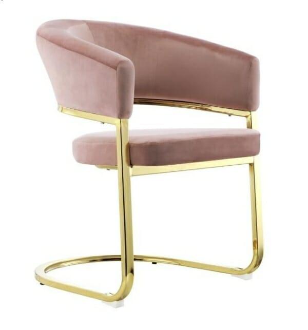 Модерно плюшено кресло със златиста основа -лилаво-розов цвят