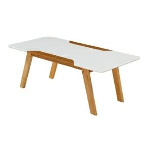 Правоъгълна холна маса в бяло и меден дъб