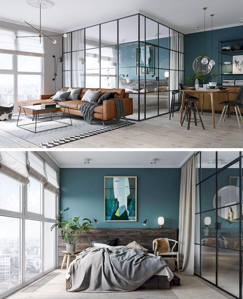 Стъклена стена, разделяща спалня от хол в едностаен апартамент