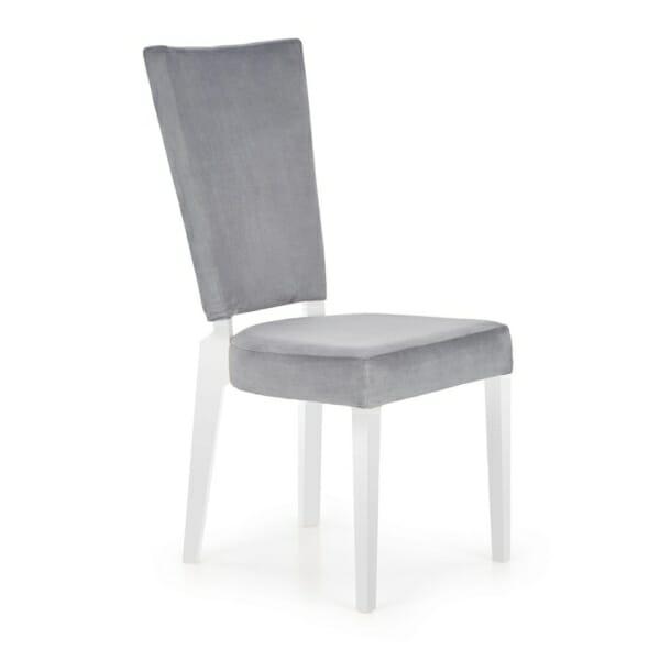 Трапезен стол от дърво и текстил в сиво и бяло