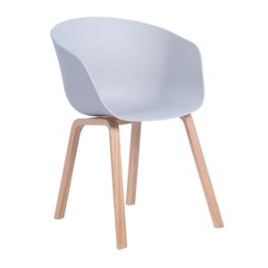 Трапезен стол с пластмасова седалка и дървени крака (2 цвята)