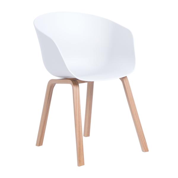 Трапезен стол с пластмасова седалка и дървени крака (2 цвята) - бял