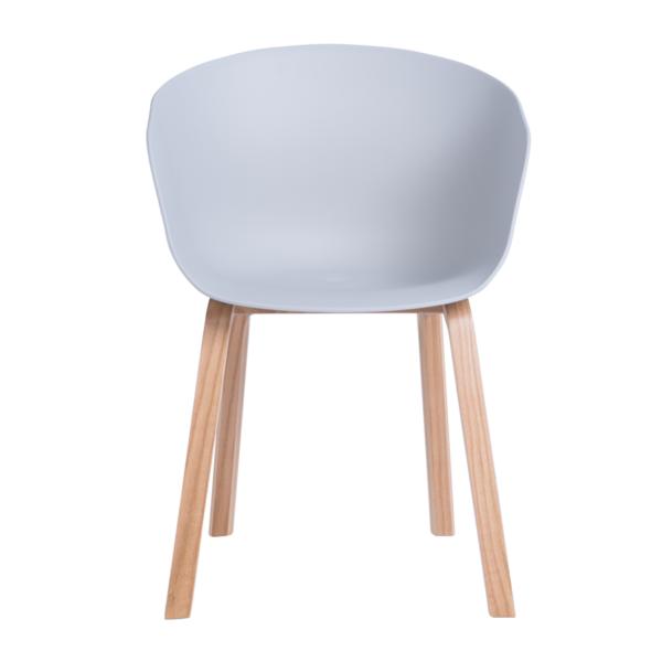 Трапезен стол с пластмасова седалка и дървени крака (2 цвята) - отпред