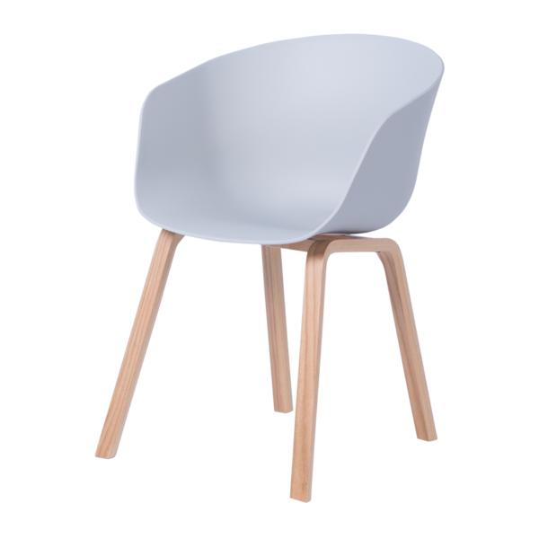 Трапезен стол с пластмасова седалка и дървени крака (2 цвята) - странично