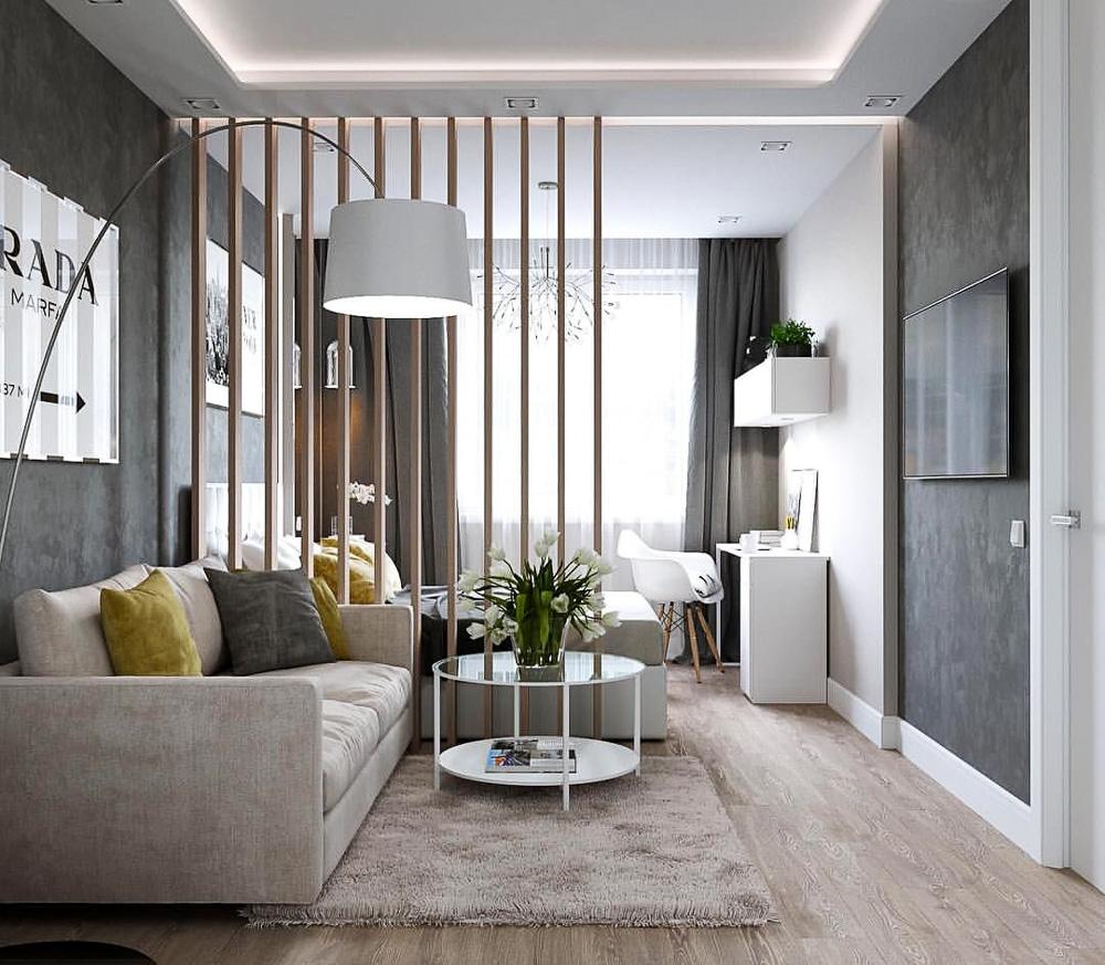 Дървени панели, разделящи спалня от хол в едностаен апартамент