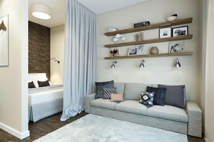 Завеса, отделяща спалнята от хола