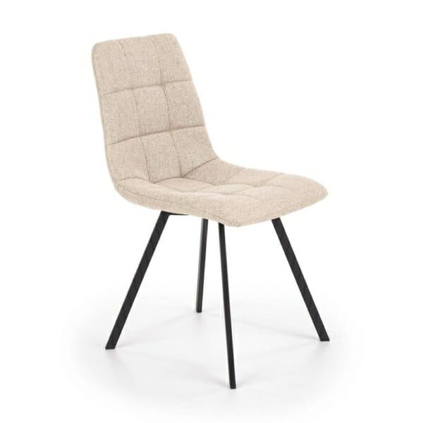 Бежов трапезен стол с текстилна дамаска и метални крака
