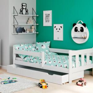 Детско легло с издърпващо се чекмедже на колела - бял цвят