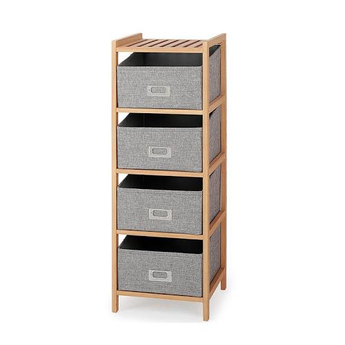 Дървена свободностояща етажерка с 4 текстилни отделения