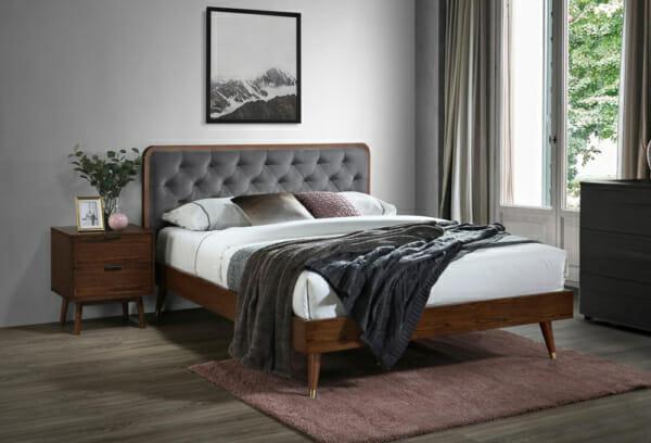 Дървено легло в цвят орех и табла в сиво Арно