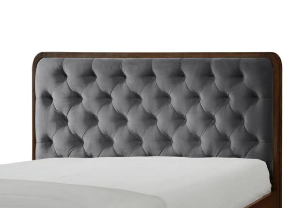Дървено легло в цвят орех и табла в сиво Арно - детайл табла