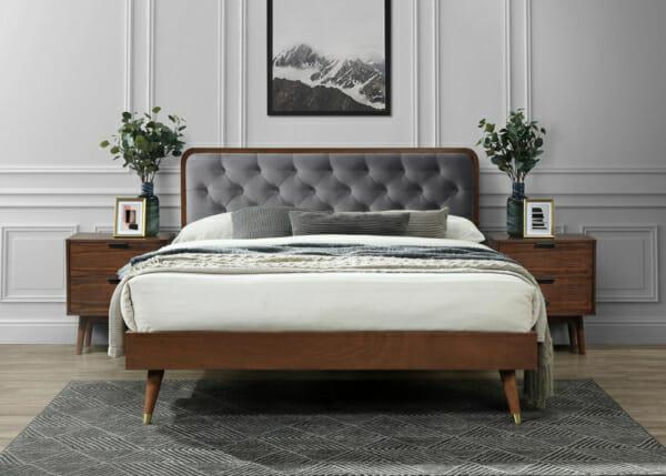Дървено легло в цвят орех и табла в сиво Арно - изглед отпред