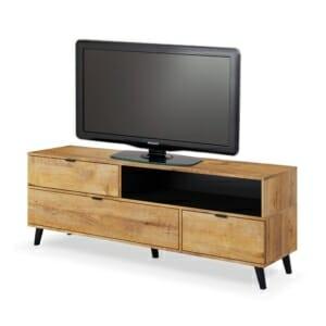 Дървен ТВ шкаф с вратички и витрина серия Нестор