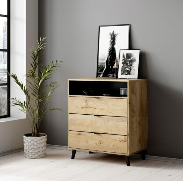 Дървен шкаф с витрина и крачета серия Нестор - интериорна