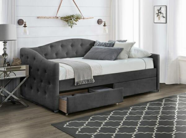 Единично легло с кадифена тапицерия и 2 чекмеджета - сив цвят