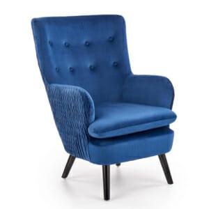Елегантен фотьойл с дамаска от кадифе Primo - син цвят