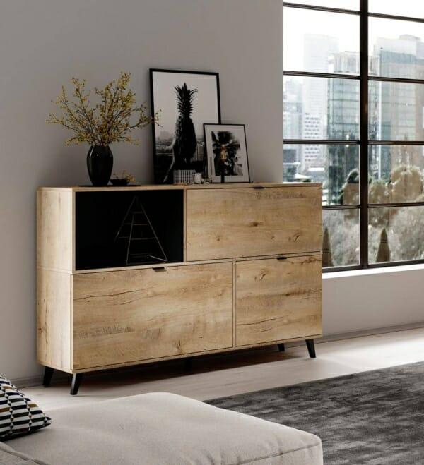 Голям дървен шкаф в цвят дъб лефкас серия Нестор - интериорна