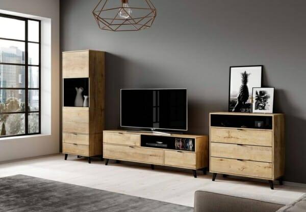 Голям дървен шкаф в цвят дъб лефкас серия Нестор - комбинация