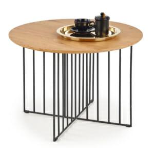 Холна маса с кръгъл плот и черна решетъчна основа