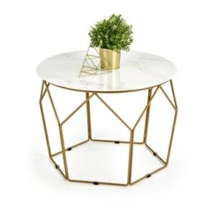Холна маса с кръгъл плот имитиращ мрамор Миела