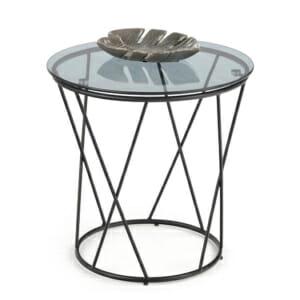 Холна маса с опушен стъклен плот и метална основа Ния